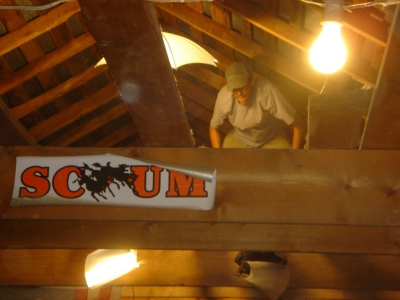 Producer Colin Powers setting lights above the Punisher before the Bowl Bash.